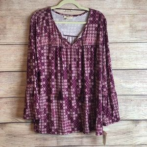 NWT Style & Co long sleeve purple blouse XL L12